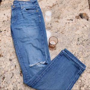 7 For All Mankind Ripped Straight Leg Blue Jeans